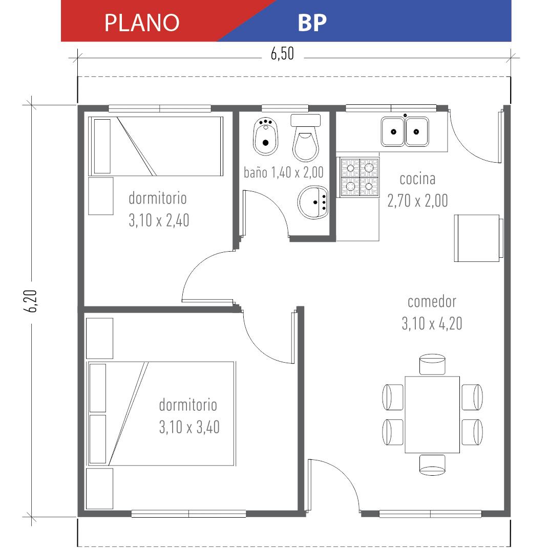 Viviendas don palacios s r l for Planos de casas economicas de 3 dormitorios